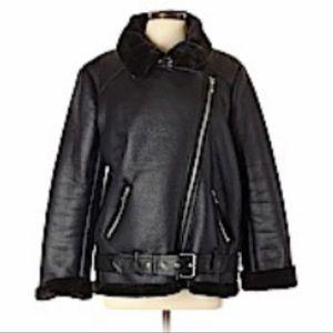 zara oversized motorcycle jacket with fur